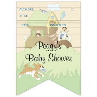 Baby Shower Blue/Library, Swallowtail Banner