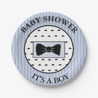 Baby Shower  Blue Mustache and Bowtie Cake Plates 7 Inch Paper Plate