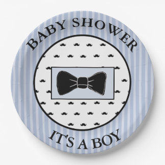 Baby Shower  Blue Mustache and Bowtie Plates 9 Inch Paper Plate