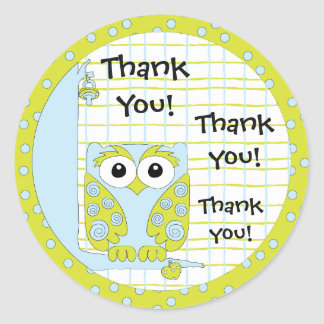 """Baby Shower Blue/Owl Stickers 1 1/2"""" or 3"""""""