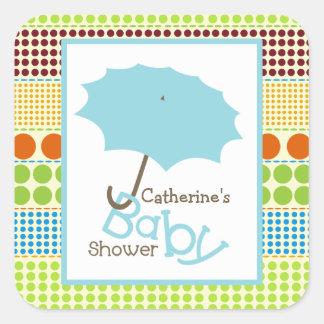 Baby Shower Blue Umbrella & Boho Dots Square Sticker