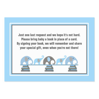 Baby shower book insert blue gray elephants pack of chubby business cards