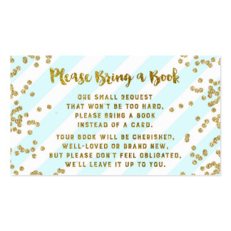 Baby Shower Book Request Card Blue Gold Confetti Pack Of Standard Business Cards