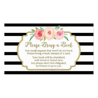 Baby Shower Book Request Card Pink Floral Black Pack Of Standard Business Cards
