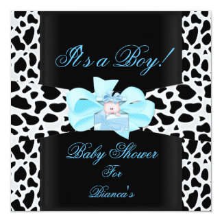 Baby Shower Boy Baby Blue Black White Cow Print 13 Cm X 13 Cm Square Invitation Card