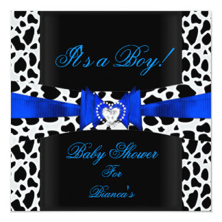 Baby Shower Boy Baby Blue Black White Cow Print 5.25x5.25 Square Paper Invitation Card