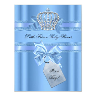 Baby Shower Boy Baby Blue Little Prince Crown Bow 11 Cm X 14 Cm Invitation Card