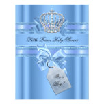 Baby Shower Boy Baby Blue Little Prince Crown Bow Custom Invitation