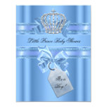 Baby Shower Boy Baby Blue Little Prince Crown Bow Custom Invite