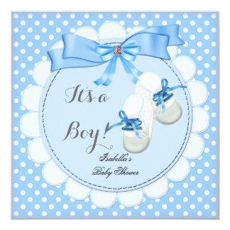 Baby Shower Boy Blue Cute Blue Booties shoes 2 13 Cm X 13 Cm Square Invitation Card