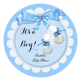 Baby Shower Boy Blue Cute Blue Booties shoes Card