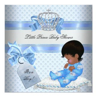 Baby Shower Boy Blue Little Prince Bunnies 13 Cm X 13 Cm Square Invitation Card