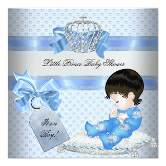 "Baby Shower Boy Blue Little Prince Bunnies 2 5.25"" Square Invitation Card"