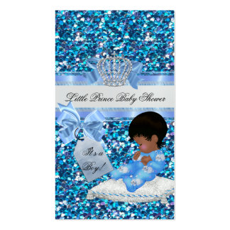 Baby Shower Boy Blue Little Prince Bunnies TAG Double-Sided Standard Business Cards (Pack Of 100)
