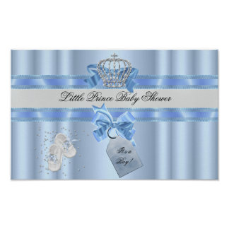 Baby Shower Boy Blue Little Prince Crown 3a Poster