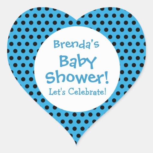 Baby Shower BOY Blue Polka Dot Pattern V3B Sticker