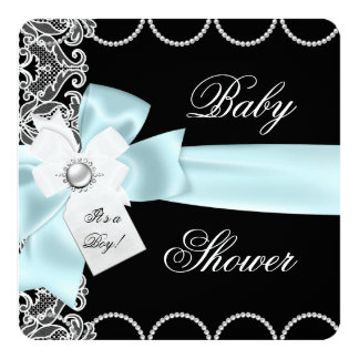Baby Shower Boy Blue Teal Black White Lace 13 Cm X 13 Cm Square Invitation Card