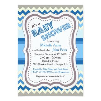 Baby Shower boy, chevron,art-deco,pink white grey. Card