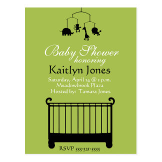 Baby Shower - Boy, crib with mobile Postcard