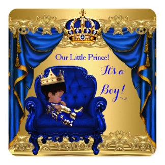 Baby Shower Boy Little Prince Royal Blue Golden Card