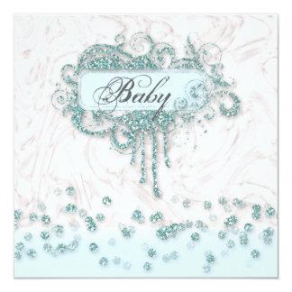 Baby Shower Boy Marble Blue Glitter Confetti 13 Cm X 13 Cm Square Invitation Card