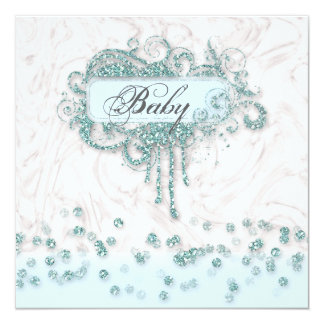 Baby Shower Boy Marble Blue Glitter Confetti Card
