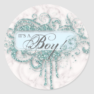 Baby Shower Boy Marble Blue Glitter Confetti Round Sticker