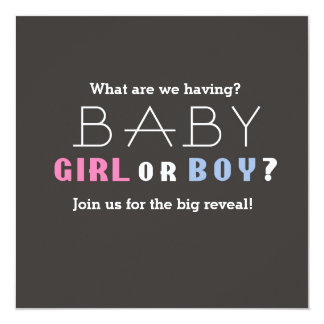 Baby Shower Boy or Girl Gender Revealing Party Card