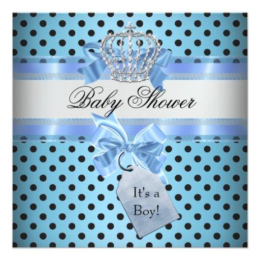 Baby Shower Boy Polka Dot Blue Prince Crown Black Custom Invitation