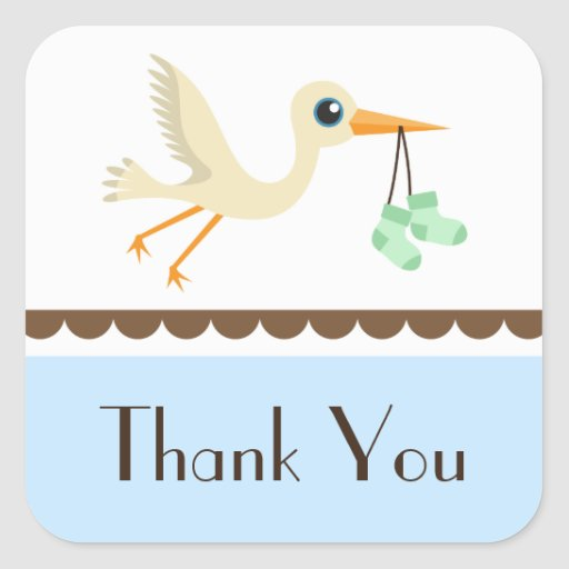 Baby shower boys blue stork thank you stickers