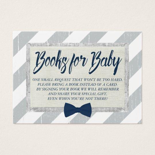 Baby Shower Bring a Book Boy Navy Bow Tie Insert