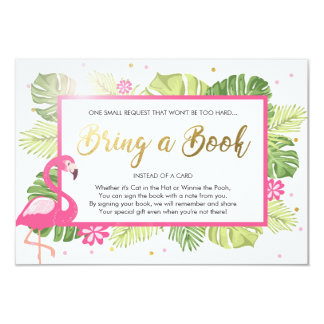 Baby Shower Bring a Book Flamingo Tropical Pink Card