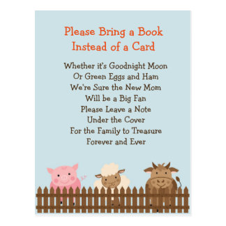Baby Shower Bring a Book Game- Farm Animal Theme Postcard