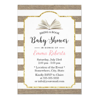 Baby Shower Bring a Book Request Burlap Stripes Card