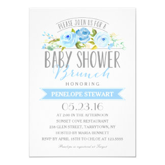 Baby Shower Brunch Blue | Baby Shower Invitation