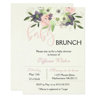 Baby Shower Brunch Invitation Floral Pink Girl