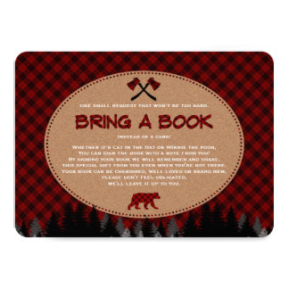Baby Shower Buffalo Plaid Lumberjack Bring a Book Card