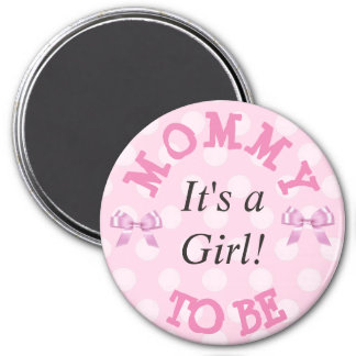 Baby Shower Button, Mama to Be Pink Polka Dots Magnet