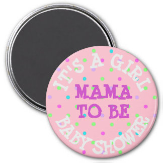 Baby Shower Button, Mama to Be Pink Purple Dots Magnet