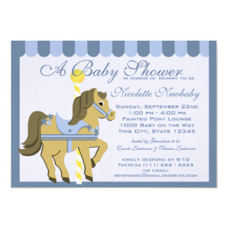 Baby Shower Carousel Blue Card