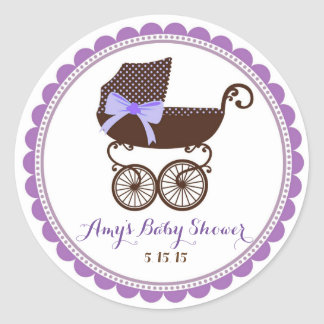 Baby Shower Carriage Stickers Favors