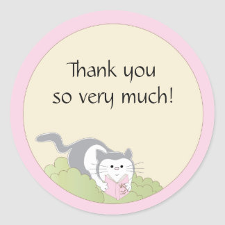 """Baby Shower """"Cat/Pink/Book"""" Stickers 1 1/2"""" or 3"""""""
