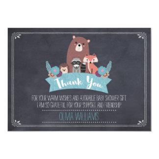 Baby Shower Chalkboard Woodland Thank You Card Boy