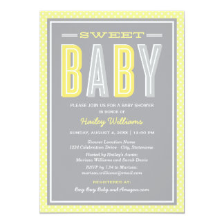 Baby Shower | Chic Type in Yellow and Gray 13 Cm X 18 Cm Invitation Card