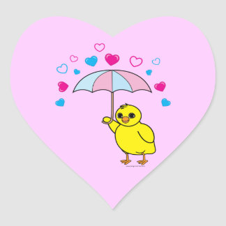 Baby Shower: Chick and Hearts Pink Sticker
