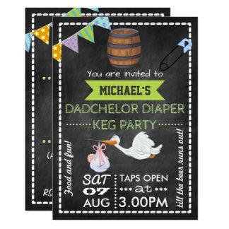 Baby Shower Christening Dadchelor Keg Party Chalk 13 Cm X 18 Cm Invitation Card