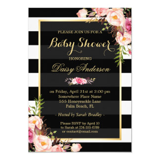 Baby Shower Classy Floral Gold Black White Stripes 13 Cm X 18 Cm Invitation Card