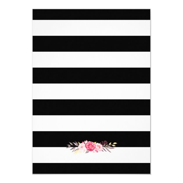 baby shower classy floral gold black white stripes card | zazzle, Baby shower invitations