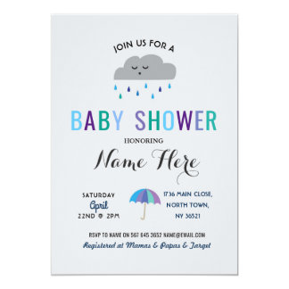 Baby Shower Cloud Sprinkle Rain Cute Umbrella Rain Card