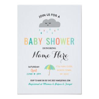 Baby Shower Cloud Sprinkle Umbrella Gender Reveal Card